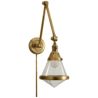 Gale Library Wall Light in Hand-Rubbed Antique Brass with Seeded Glass
