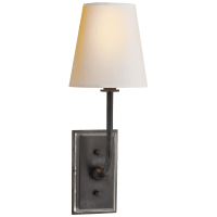 Hulton Sconce in Bronze with Crystal Backplate and Natural Paper Shade