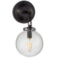 Katie Small Globe Sconce in Bronze with Seeded Glass