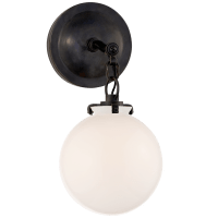 Katie Small Globe Sconce in Bronze with White Glass