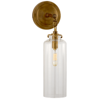 Katie Small Cylinder Sconce in Hand-Rubbed Antique Brass with Clear Glass