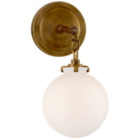 Katie Small Globe Sconce in Hand-Rubbed Antique Brass with White Glass