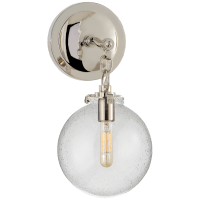Katie Small Globe Sconce in Polished Nickel with Seeded Glass