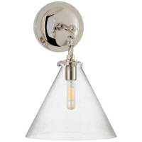 Katie Small Conical Sconce in Polished Nickel with Seeded Glass
