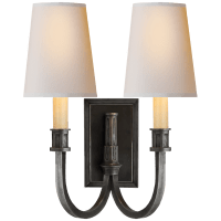 Modern Library Double Sconce in Bronze with Natural Paper Shades