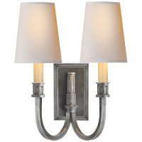 Modern Library Double Sconce in Sheffield Nickel with Natural Paper Shades
