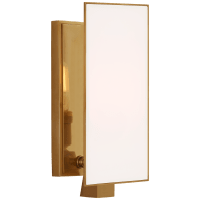 Albertine Petite Sconce in Hand-Rubbed Antique Brass with White Glass Diffuser