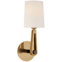 Alpha Single Sconce in Hand-Rubbed Antique Brass and Bronze with Linen Shade