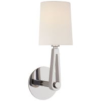 Alpha Single Sconce in Polished Nickel with Linen Shade