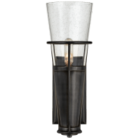 Robinson Single Sconce in Bronze with Seeded Glass
