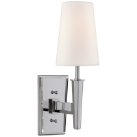 Lyra Small Sconce in Polished Nickel and Crystal with Linen Shade
