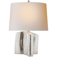 Carmel Table Lamp in Burnished Silver Leaf with Natural Paper Shade