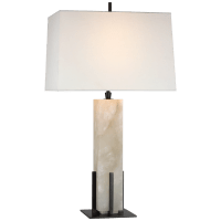 Gironde Large Table Lamp in Alabaster and Bronze with Linen Shade