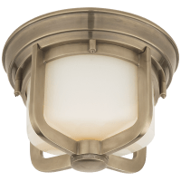 Milton Short Flush Mount in Antique Nickel with White Glass