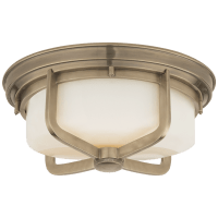 Milton Large Flush Mount in Antique Nickel with White Glass
