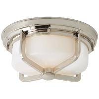 Milton Large Flush Mount in Polished Nickel with White Glass