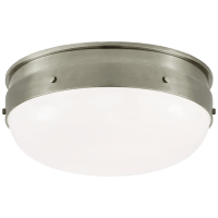 Hicks Small Flush Mount in Antique Nickel with White Glass