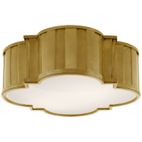 Tilden Large Flush Mount in Hand-Rubbed Antique Brass with White Glass