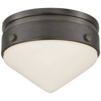 """Gale 5.5"""" Solitaire Flush Mount in Bronze with White Glass"""