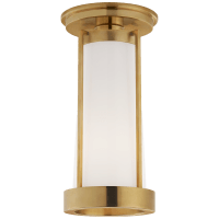Calix Tall Flush in Hand-Rubbed Antique Brass with White Glass