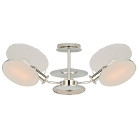 Osiris Medium Reflector Semi-Flush Mount in Polished Nickel with Linen Diffusers