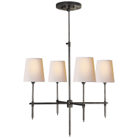 Bryant Small Chandelier in Bronze with Natural Paper Shades