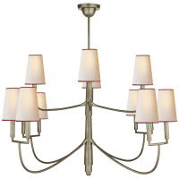 Farlane Large Chandelier in Antique Nickel with Natural Paper Shades