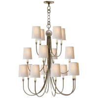 Reed Extra Large Chandelier in Antique Nickel with Natural Paper Shades