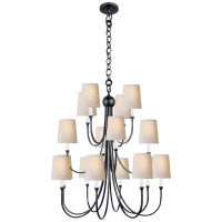 Reed Extra Large Chandelier in Bronze with Natural Paper Shades