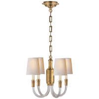 Vivian Mini Chandelier in Hand-Rubbed Antique Brass with Natural Paper Shades