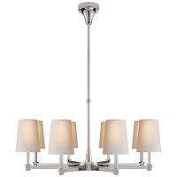 Caron Large Chandelier in Polished Nickel with Natural Paper Shades