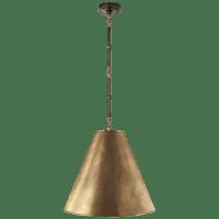 Goodman Medium Hanging Light in Bronze and Hand-Rubbed Antique Brass with Hand-Rubbed Antique Brass Shade