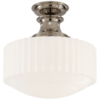 Milton Road Flush Mount in Polished Nickel with White Glass