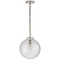 Katie Globe Pendant in Polished Nickel with Seeded Glass