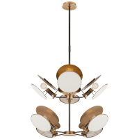 Osiris Medium Reflector Chandelier in Bronze and Hand-Rubbed Antique Brass with Linen Diffusers