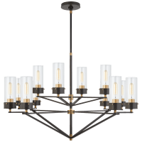 Marais Large Chandelier in Bronze and Hand-Rubbed Antique Brass with Clear Glass