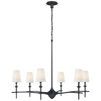 Pippa Grande Chandelier in Aged Iron with Linen Shades