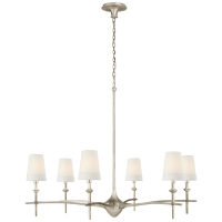 Pippa Grande Chandelier in Burnished Silver Leaf with Linen Shades