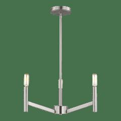 Vector Three Light Chandelier Brushed Nickel