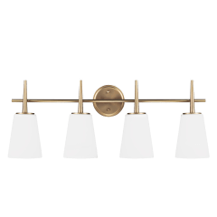 Driscoll Four Light Wall / Bath Satin Brass Bulbs Inc