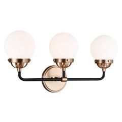 Cafe Three Light Wall / Bath Satin Brass Bulbs Inc