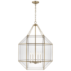Morrison Large Four Light Lantern Satin Brass Clear