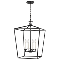 Dianna Four Light Medium Lantern Midnight Black