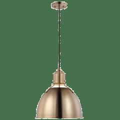 Huey One Light Medium Pendant Satin Brass