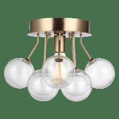 Bronzeville One Light Semi-Flush Mount Satin Brass