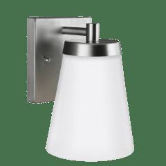 Renville Small One Light Outdoor Wall Lantern Satin Aluminum Bulbs Inc