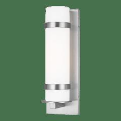 Alban Medium One Light Outdoor Cylinder Wall Lantern Satin Aluminum