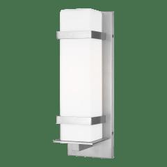 Alban Medium One Light Outdoor Square Wall Lantern Satin Aluminum