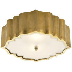 Balthazar Flush Mount in Natural Brass with Frosted Glass