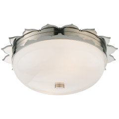 Rachel Small Flush Mount in Polished Nickel with White Glass